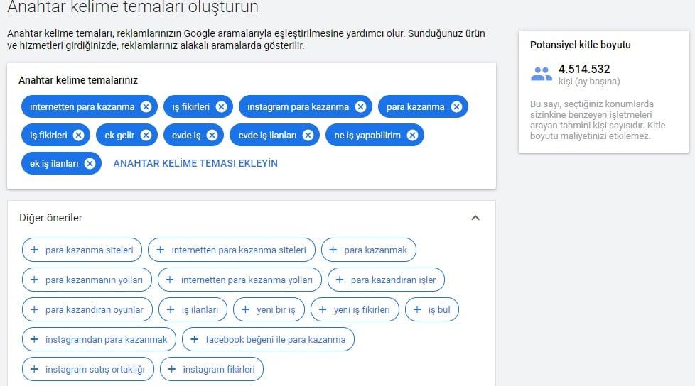 google reklam verme anahtar kelime temalari olusturun