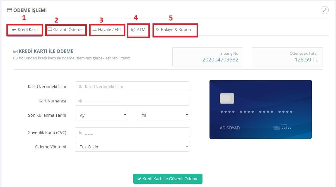 turhost kart bilgilerinizi girin blog olusturma